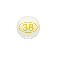 Number 38 Oval Mini Button (10 pack)