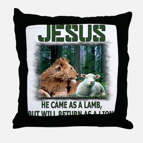 Jesus, Lion & Lamb Throw Pillow