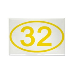 Number 32 Oval Rectangle Magnet
