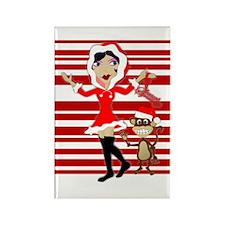 Holly Girl & Monkey Rectangle Magnet
