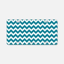 Chevron Teal Aluminum License Plate