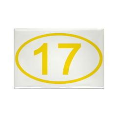 Number 17 Oval Rectangle Magnet (10 pack)