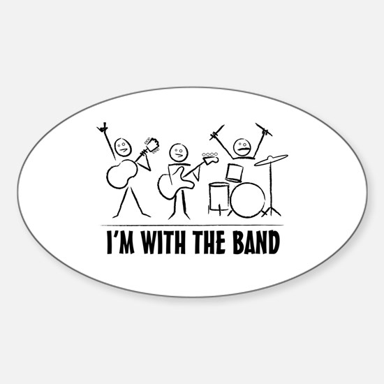 Stick man band Sticker (Oval)