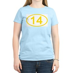 Number 14 Oval Women's Pink T-Shirt