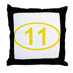 Number 11 Oval Throw Pillow