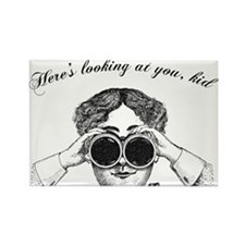 Lady with Binoculars Rectangle Magnet
