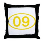 Number 09 Oval Throw Pillow