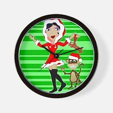 Holly Girl & Monkey Wall Clock