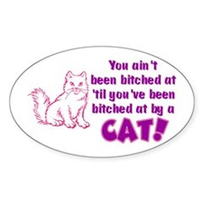 Bitched at by a Cat Oval Decal