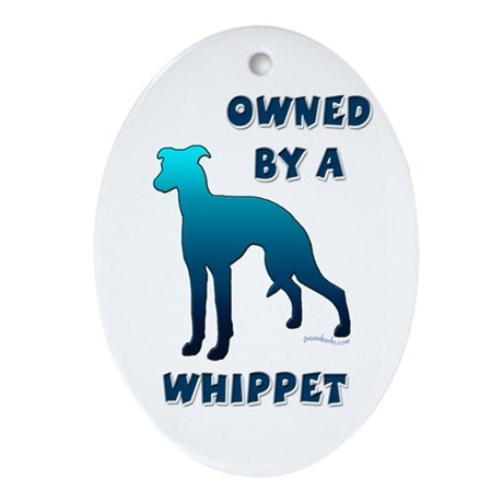 Whippet Silhouette Oval Ornament