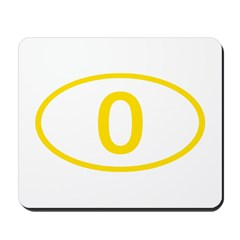 Number 0 Oval Mousepad