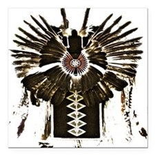 "Native American Feathers Square Car Magnet 3"" x 3"""