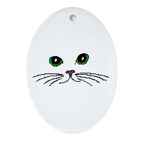 Cats Face Oval Ornament