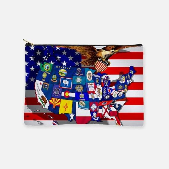 USA States Flag Makeup Pouch