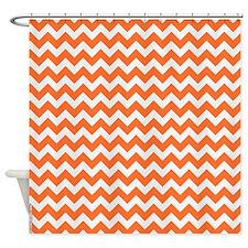 Chevron Orange Shower Curtain