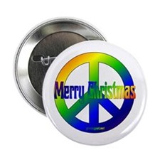 Merry Christmas Peace Sign Button