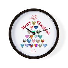 Christmas Tree & Hearts Wall Clock