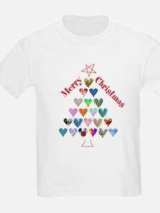 Christmas Tree & Hearts Kids T-Shirt