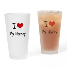 I Love My Library Drinking Glass