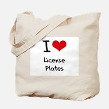 I Love License Plates Tote Bag