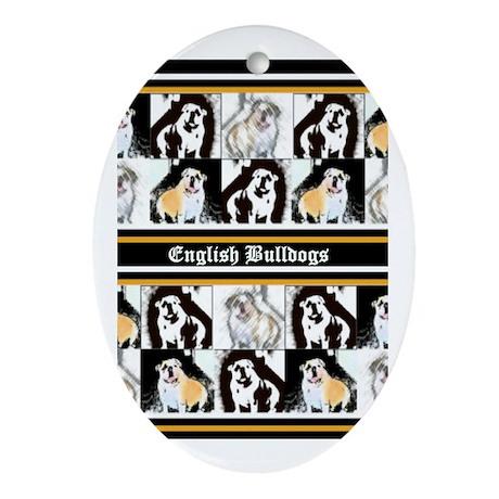 English Bulldog Oval Ornament