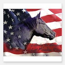 "Liberty for Horses logo Square Car Magnet 3"" x 3"""