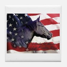 Liberty for Horses logo Tile Coaster