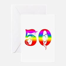 Fun rainbow 50 Greeting Card