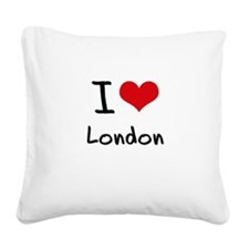 I Love London Square Canvas Pillow