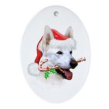 White Shep Oval Ornament
