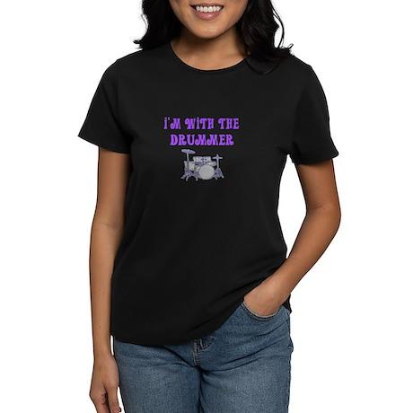 I'M WITH THE DRUMMER Women's Dark T-Shirt