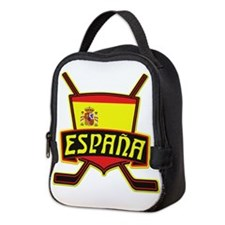 Spain Ice Hockey Shield Neoprene Lunch Bag