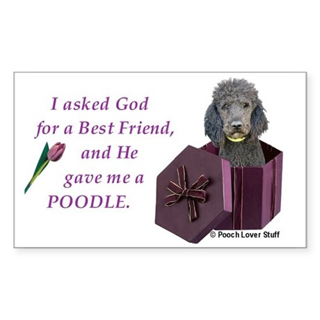Poodle (Black) Rectangle Sticker
