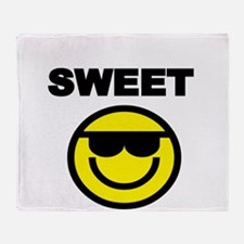 SWEET WITH SMILEY FACE Throw Blanket