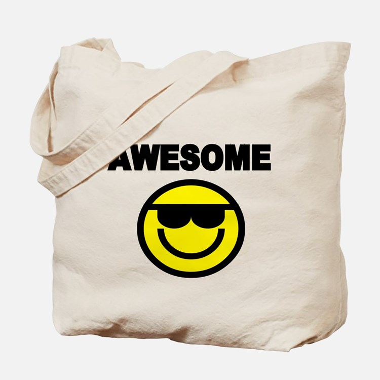 AWESOME WITH SMILEY FACE Tote Bag