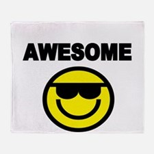 AWESOME WITH SMILEY FACE Throw Blanket