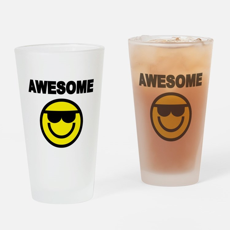 AWESOME WITH SMILEY FACE Drinking Glass