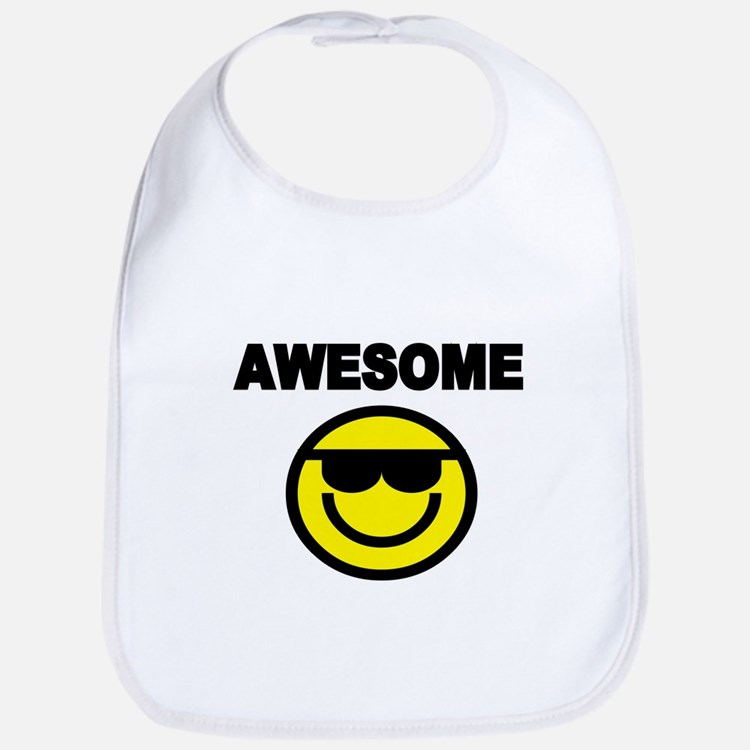 AWESOME WITH SMILEY FACE Bib