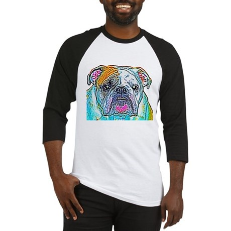 Bulldog in Color Baseball Jersey