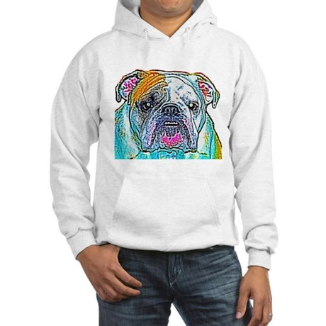 Bulldog in Color Hooded Sweatshirt