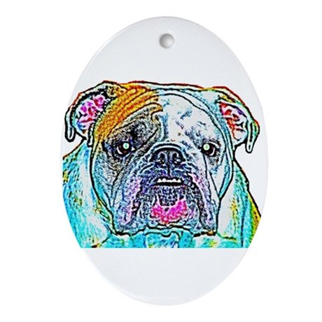 Bulldog in Color Oval Ornament