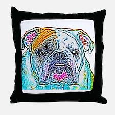 Bulldog in Color Throw Pillow