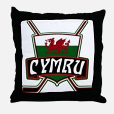 Wales Welsh Ice Hockey Shield Throw Pillow