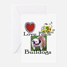 Love, Peace, Bulldogs Greeting Cards (Pk of 10