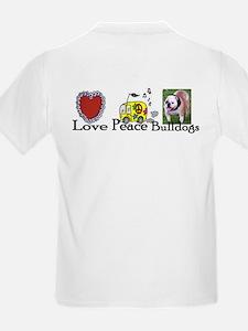 Love, Peace, Bulldogs Kids T-Shirt