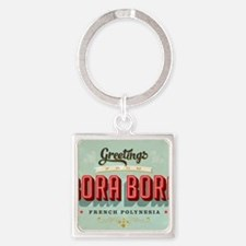 Vintage Touristic Greeting Card -  Square Keychain