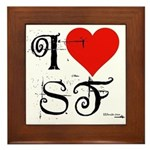 I Love SF-NY Loves You Framed Tile