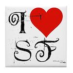 I Love SF-NY Loves You Tile Coaster