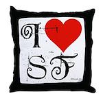 I Love SF-NY Loves You Throw Pillow
