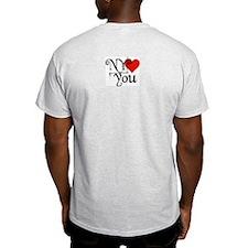 I Love SF-NY Loves You Ash Grey T-Shirt